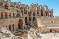 Загубленное Colosseum в Тунисе, El Jem Стоковое Изображение
