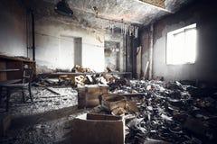 Загубленный интерьер промышленного здания Стоковое Изображение