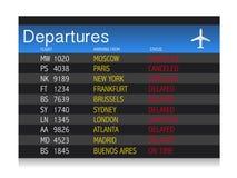 Задержанная таблица отклонения кризиса авиапорта - отменено бесплатная иллюстрация