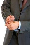 задерживать руки евро монетки бизнесмена близкий Стоковые Фотографии RF