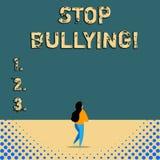 Задирать стопа показа знака текста Схематический стоп фото агрессивное поведение среди школы постарел дети иллюстрация вектора