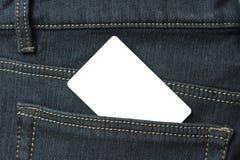 заднее карманн джинсыов пустой карточки Стоковая Фотография