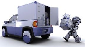 задние коробки нагружая тележку робота иллюстрация штока