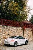 Задний взгляд белого автомобиля Пежо RCZ припаркованного в улице Стоковые Изображения RF