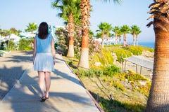Задний взгляд девушки идя на пляж лета Стоковая Фотография