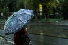 Задний взгляд женщины идя во время дождя в городе стоковые фотографии rf