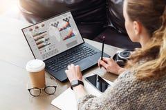 задний взгляд Молодая коммерсантка сидя в офисе работая на ноутбуке с диаграммами, диаграммами, диаграммами на мониторе стоковое фото rf