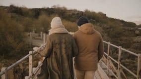 Задний взгляд молодых пар идя в природу, паркует совместно Человек и женщина бежать через руки моста и владения сток-видео