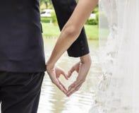 Задний взгляд невесты в белом платье и groom в костюме держа сердце рук формируют истово wedding тему стоковая фотография
