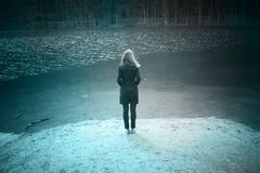 Задний взгляд персоны женщины на озере Стоковое Фото