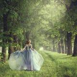 Задний взгляд стоять молодая красивая белокурая женщина в голубом платье Стоковое Изображение