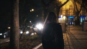 Задний взгляд туристской женщины с рюкзаком идя через темный парк около дороги поздно на ночу самостоятельно Стоковое Фото