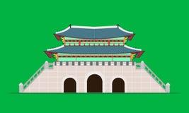 Задний дворец gyeongbokgung ворот gwanghwamun в иллюстрации eps10 вектора Южной Кореи Сеула иллюстрация штока