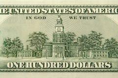 задний доллар 100 одно счета Стоковое Изображение