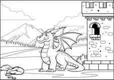 Задний и белый крася дракон страницы в замке со стилем мультфильма бесплатная иллюстрация