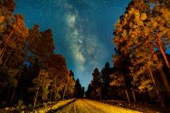 Задний млечный путь дороги Стоковая Фотография RF