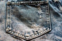 Задняя карманная голубая ткань демикотона Стоковые Фотографии RF