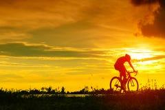 Задняя сторона велосипеда езды велосипедиста на парке времени захода солнца публично Стоковое Фото