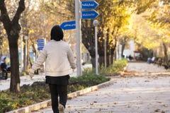 Задняя сторона мусульманской женщины идя в парк в Тегеране на солнечном Стоковое Изображение RF