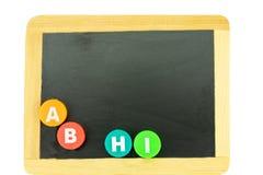задняя школа к Классн классный с письмами A B H i с космосом f стоковое фото rf