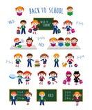 задняя школа к Школьники в различных ситуациях Стоковое Изображение RF