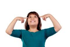Задумчивая девушка с 11 летами старый смотреть вверх Стоковое Фото