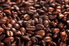 Зажаренная в духовке предпосылка конца-вверх кофейных зерен Стоковое Изображение RF