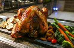 Зажаренная в духовке Турция для благодарения и рождества Стоковое фото RF