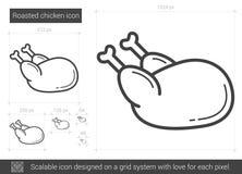 Зажаренная в духовке линия значок цыпленк цыпленка иллюстрация вектора