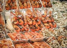 Зажаренная креветка морепродуктов, осьминог, креветка, мясо краба, рак Стоковая Фотография RF