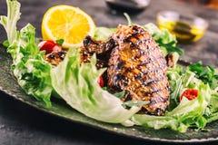 Зажаренная куриная грудка в различных изменениях с травами грибов томатов вишни салата салата отрезала лимон на деревянной доске  Стоковая Фотография