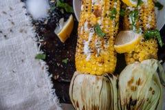 Зажаренная мозоль дальше с лимоном, травами и специями Стоковая Фотография
