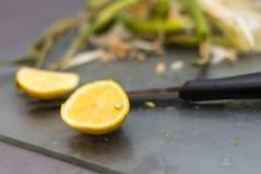Зажаренная паприка с касанием подготовки чеснока и лимона стоковая фотография