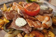 Зажаренная плита мяса Стоковое Фото