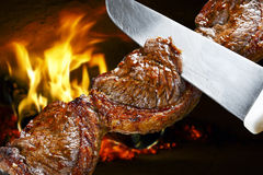 Зажаренное барбекю стейка Стоковое Фото