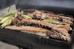Зажаренное в духовке барбекю свиньи Стоковая Фотография
