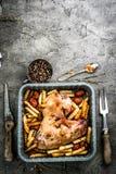 Зажаренное крыло индюка с фраями в взгляд сверху подноса выпечки Стоковое Фото