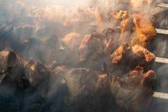 Зажаренное мясо, золотой свинина с протыкальниками и деревянные ручки Много дым в процессе варить душистые мясные блюда в природе стоковое изображение rf