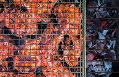 Зажаренное мясо на фото крупного плана углей Варить барбекю красного мяса Стоковое фото RF