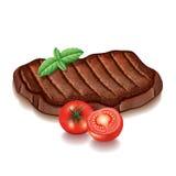 Зажаренное мясо с зелеными цветами на белом векторе иллюстрация вектора