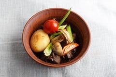 Зажаренное мясо с овощами в плите Стоковое Изображение RF