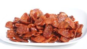 Зажаренное скольжение, варить сосиски свинины готовый для еды сигналит внутри Стоковая Фотография