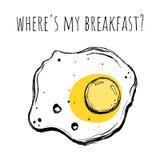 зажаренное яичко Иллюстрация вектора в стиле doodle Где ` s мой завтрак Стоковые Фото