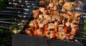 Зажаренное kebab варя на крупном плане протыкальника металла Зажаренное в духовке мясо сваренное на барбекю Традиционное восточно Стоковые Фото