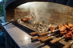 Зажаренное shashlik около горячих углей! стоковое изображение