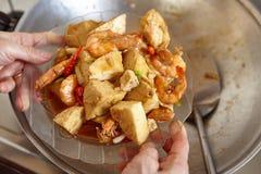 Зажаренное Stir пряное тофу креветки Стоковые Изображения