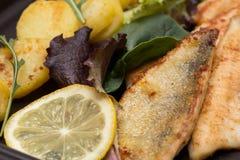 Зажаренные выкружки окуня с зажаренными картошками, лимоном и салатом Стоковые Фото