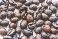 Зажаренные в духовке кофейные зерна на белом блюде Стоковое фото RF