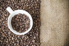 Зажаренные в духовке кофейные зерна arabica в кофейной чашке с предпосылкой ткани мешка bean coffee roasted стоковое фото