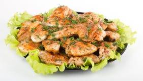Зажаренные в духовке крыла цыпленк цыпленка на белизне Стоковая Фотография RF